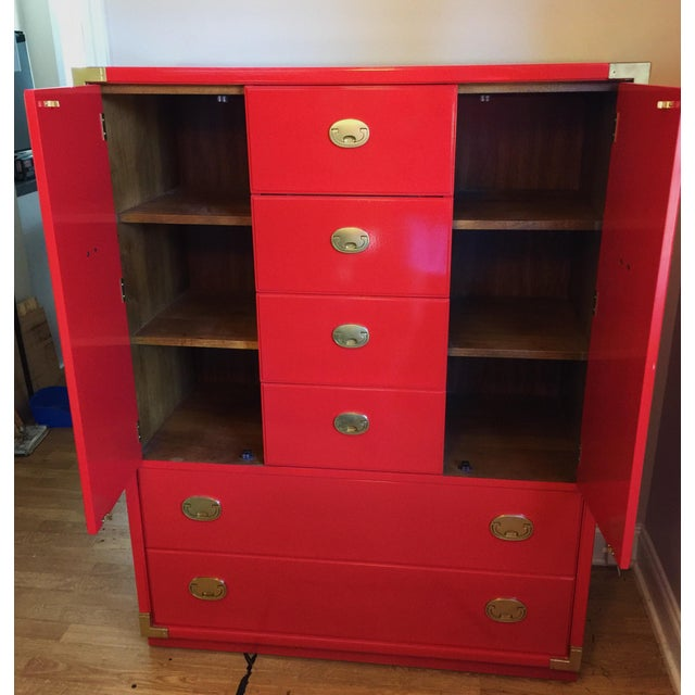 Thomasville Campaign Style Red Lacquered Armoire - Image 3 of 10