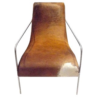 Art Deco Style Cow Hide Upholstered Club Chair For Sale