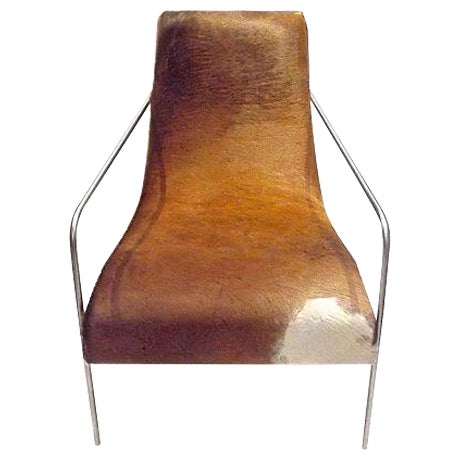 Art Deco Style Cow Hide Upholstered Club Chair - Image 1 of 8