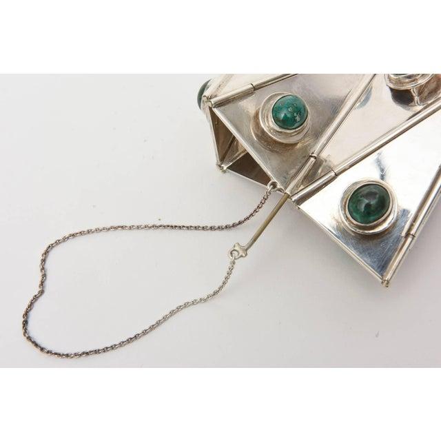 Sterling Silver & Malachite Sculptural Cuff Bracelet Vintage For Sale - Image 4 of 10