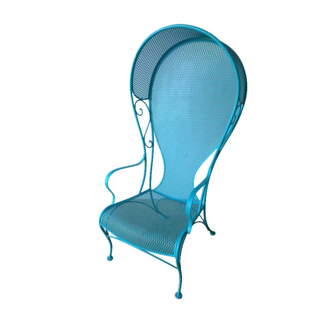 Mid-Century Modern Russell Woodard Blue Canopy Patio Chair For Sale
