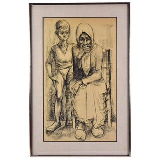"""1958 Mid-Century Original """"Old Woman W Circus Boy"""" Charcoal Drawing by Locca For Sale"""