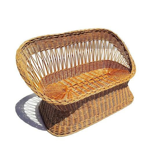 Gorgeous Vintage Woven Rattan Settee, Bamboo Reed Love Seat, iconic Bohemian Chic Decor. Great Bucket / Barrel style bench...