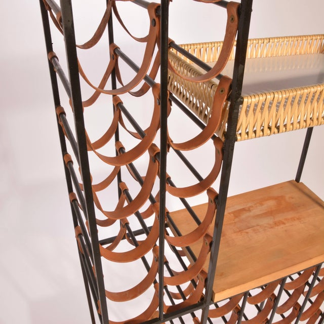 Arthur Umanoff Leather and Iron Wine Rack For Sale In Los Angeles - Image 6 of 8