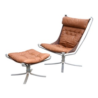 1970s Sigurd Ressell Chrome & Leather Falcon Chair and Ottoman Set, Attributed For Sale