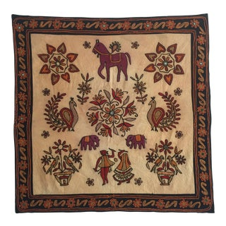 Vintage Hand Embroidered Indian Textile For Sale
