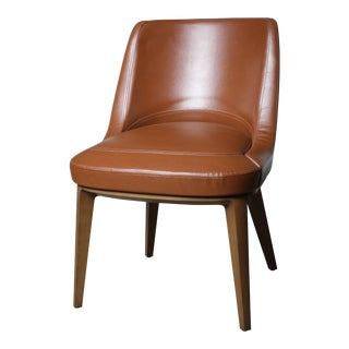 Mid-Century Modern Cumberland Clover Brown Upholstered Maple Base Guest Chair For Sale