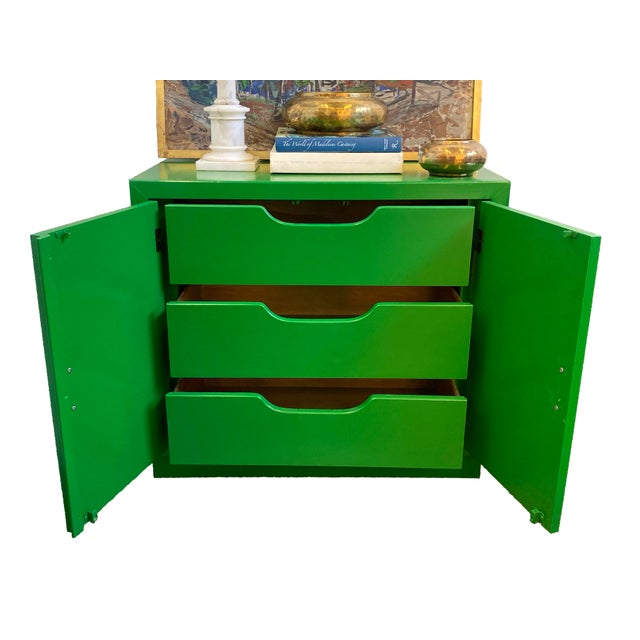 Metal Mid Century Kelly Green Campaign Chests-a Pair For Sale - Image 7 of 9