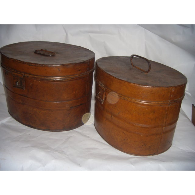 Vintage Tin English Hat Boxes - 2 For Sale In New York - Image 6 of 7
