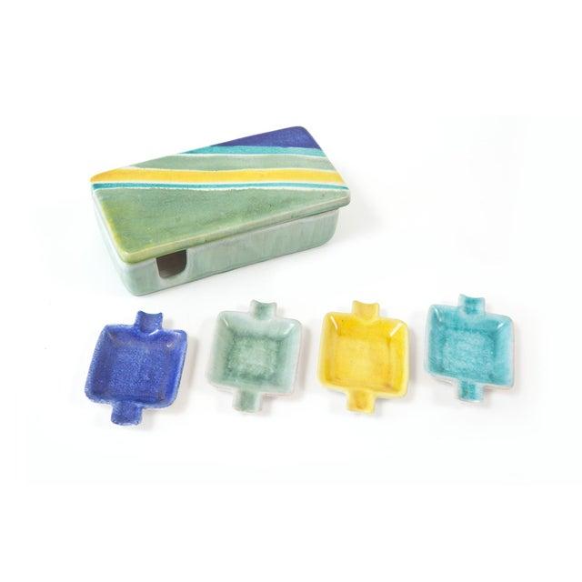Boho Chic Italian Raymor Celadon Ceramic Box Ashtray Set - 5 Pc. Set For Sale - Image 3 of 5