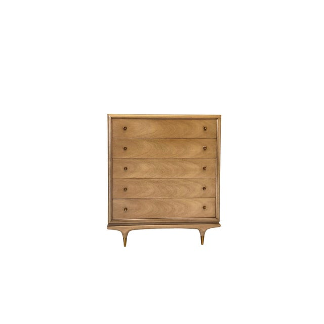 """""""Sandalwood"""" finish on mahogany, and circular brass drawer pulls make this dresser the perfect addition to any modern..."""