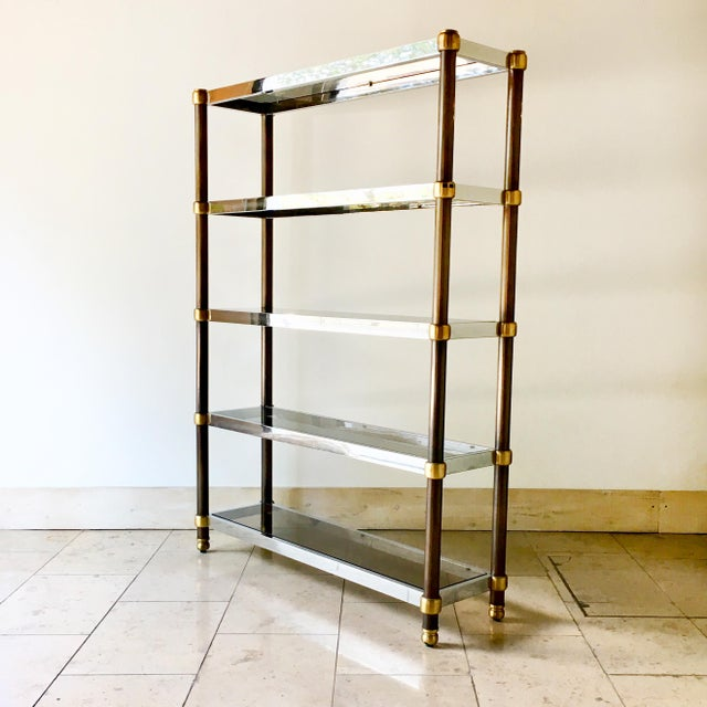 French Five Tier Copper, Brass and Chrome Etagere 1970s For Sale - Image 6 of 6