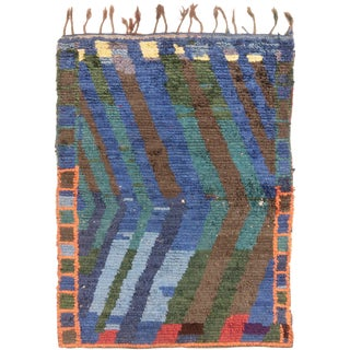 Vintage Mid-Century Moroccan Transitional Blue and Green Wool Rug - 3′11″ × 5′6″ For Sale
