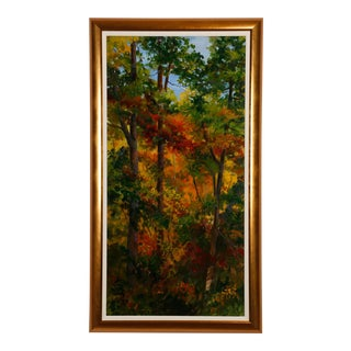 """Late 20th Century Barbara Fountain Forest Scene """"Light"""" Signed Oil Painting on Canvas For Sale"""