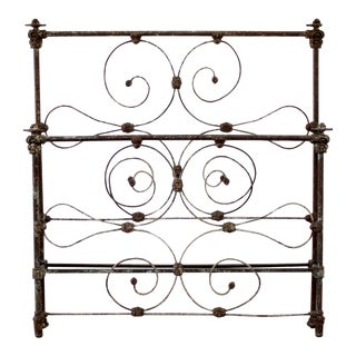 Antique Full Size Scroll Iron Bed With Original Rails For Sale