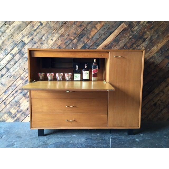 Mid-Century Herman Miller Refinished Secretary Credenza Details: Newly refinished, drop leaf desk, plenty of drawer...