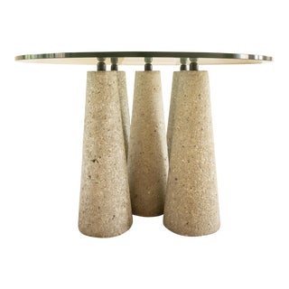 1970's Brutalist Concrete Pillar & Glass Dining Table For Sale