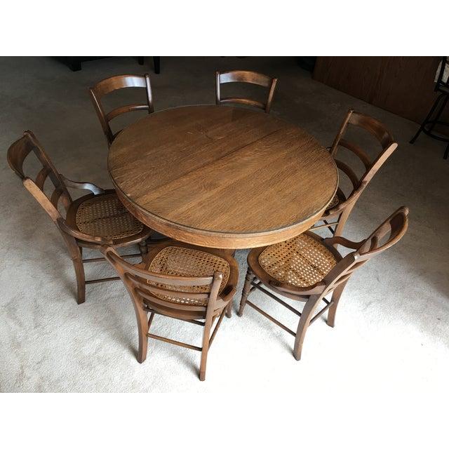 Antique Round Oak Dining Set - Image 2 of 8
