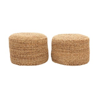 Round Jute Braided Ottomans - a Pair