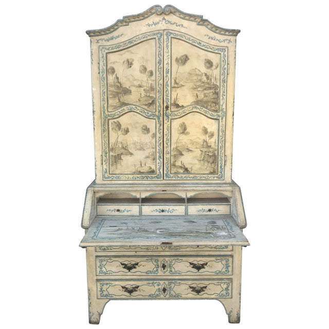 This is an antique Italian painted secretary desk. The piece dates back to the mid 18th century.