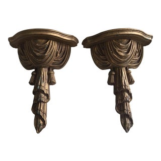 Hollywood Regency Syroco Wood Gilt Drape and Tassel Wall Shelves - a Pair
