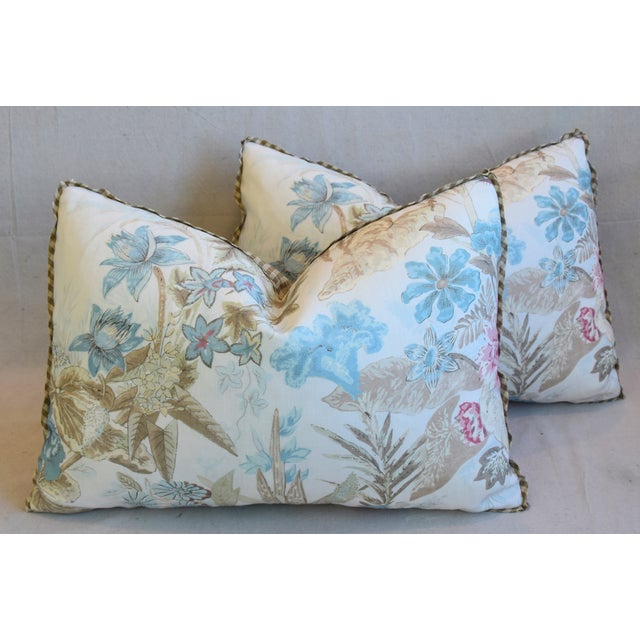 "Pastel Cowtan & Tout Floral Linen Feather/Down Pillows 26"" X 18"" - Pair For Sale - Image 7 of 13"