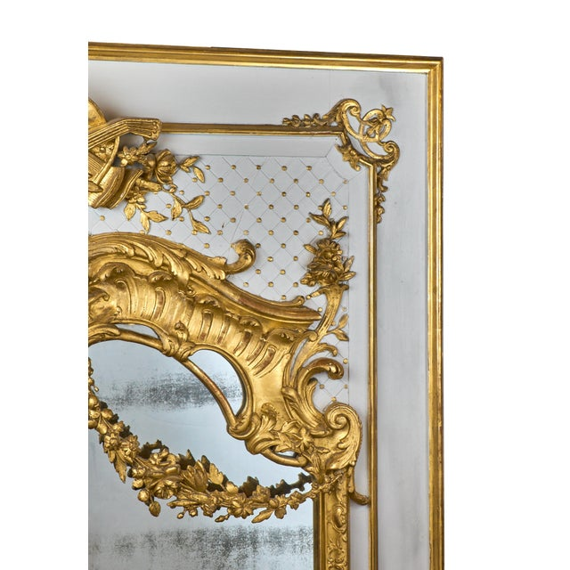 19th Century Louis XVI Gold Leaf Trumeau Mirror For Sale - Image 4 of 9