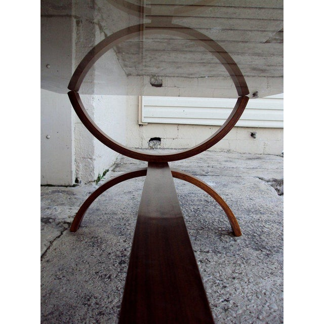 Vintage Modern Curved Jacaranda and Glass Coffee Table For Sale - Image 4 of 8