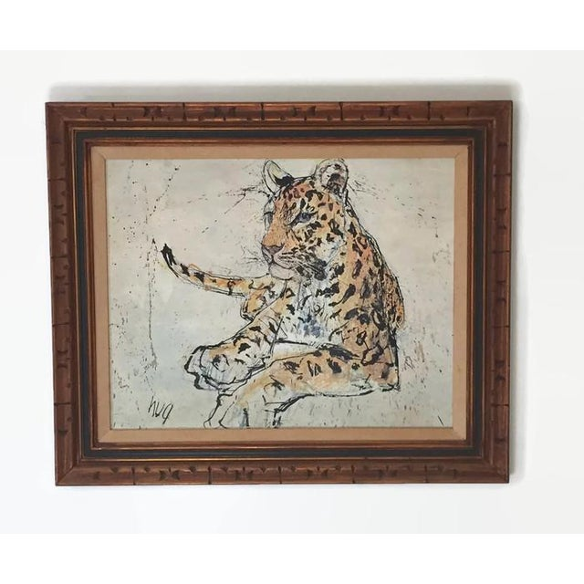 1970s Vintage Leopard Lithograph on Canvas - Image 4 of 10