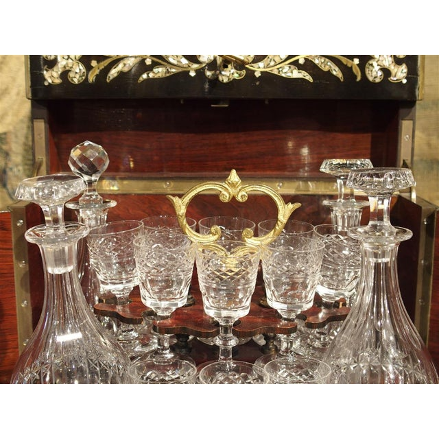 Gold Circa 1850 Napoleon III Cave a Liqueur With Mother of Pearl, Rosewood, and Brass Inlay For Sale - Image 8 of 13