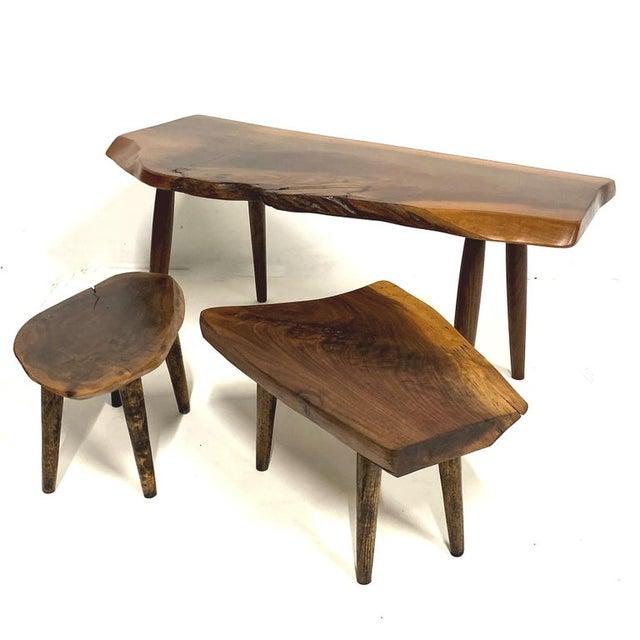 Studio Craft Walnut Live Edge Roy Sheldon Tables Signed - Set of 3 For Sale - Image 13 of 13