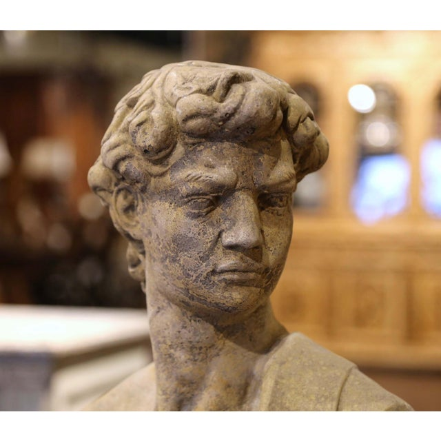Figurative Midcentury French Outdoor Weathered Cast Stone Statuary Roman Bust For Sale - Image 3 of 10