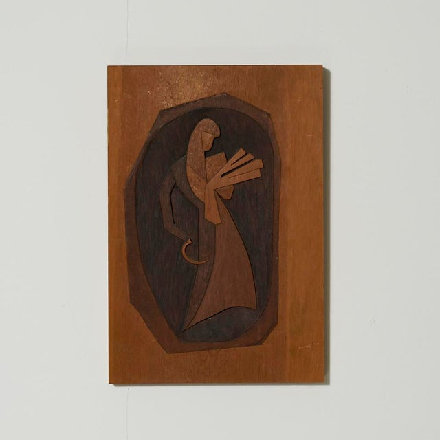 Vintage Modernist Wood Carving Art by Barnet Levy For Sale - Image 4 of 4