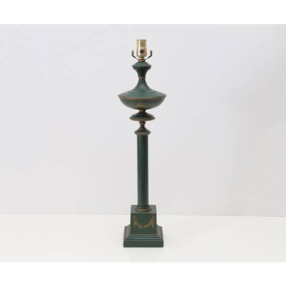 French Green Tole Column Form Table Lamp - Image 2 of 6