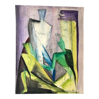 Vintage 60s Cubist Mixed Media Painting Signed S.W. For Sale