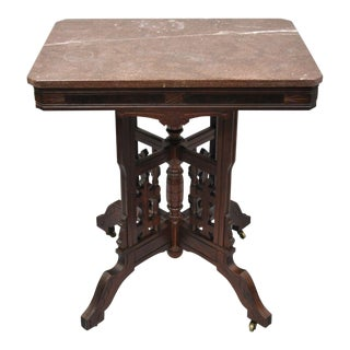 Antique American Eastlake Victorian Marble Top Parlor Side Table Plant Stand