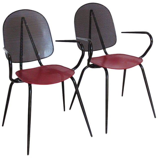 Manner of Mathieu Mategot Black and Red Perforated Metal Armchairs For Sale