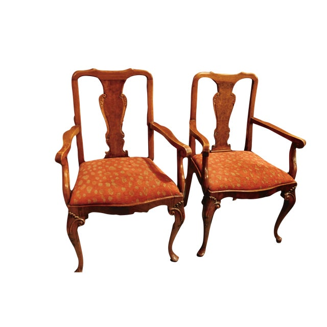 Antique Queen Anne Mahogany Dining Chairs - A Pair - Image 1 of 7