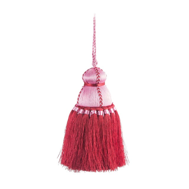 Pyar & Co. Trellis Home Tassel, Pink and Red, Small For Sale