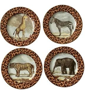 Vintage Fitz and Floyd Safari Leopard Dessert Salad Plates - Set of 4 For Sale