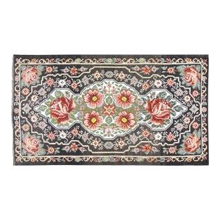 "Vintage Balkan Bessarabian Hand Made Organic Wool Natural Color Floral Kilim,6'5""x11"" For Sale"