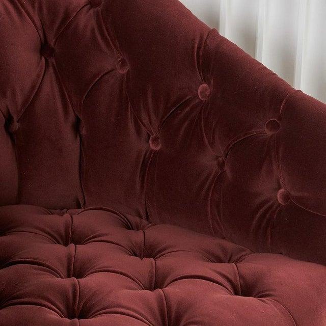 Ward Bennett Pair of Tufted Velvet Swivel Chairs For Sale - Image 4 of 6