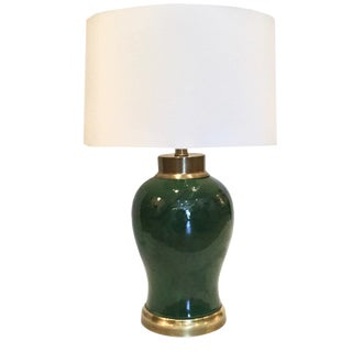 Vintage Fredrick Cooper Faux Malachite Lamp With Brass Base and Neck For Sale