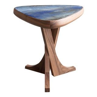 """""""Lewis"""" Stool With Handmade Walnut Frame and Handmade Ceramic Detail For Sale"""
