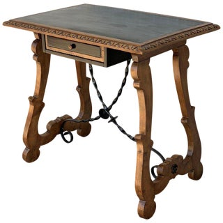 19th Spanish Side Table With Ebonized Top, One Drawer and Lyre Legs For Sale