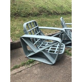 Paul Frankl Style Round Pretzel Arm Rattan Chairs - a Pair Preview