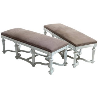Light Blue or Green Painted Benches With Grey Cushions - a Pair For Sale
