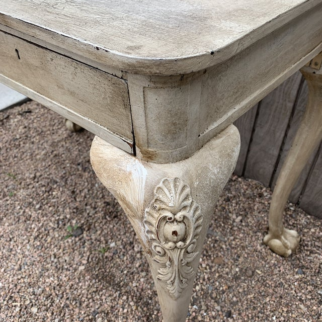 Antique Early American White Painted Ball and Claw Foot Writing Desk For Sale In Denver - Image 6 of 12