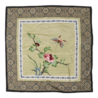 Vintage Asian Antique Silk Embroidered Pillow Case With Butterfly and Blossoming Branch For Sale