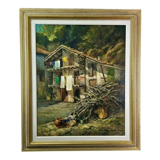 1965 Original Signed Albert Steinmann Basque Spain Countryside Oil Painting For Sale